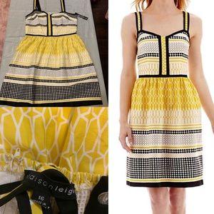 Yellow & back sun dress size 16